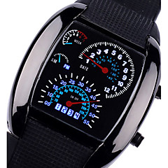 남성용 스포츠 시계 손목 시계 석영 스포츠 시계 LED 실리콘 밴드 블랙 브라운
