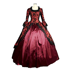 Rococo Victorian Medieval 18th Century Square Neck Costume Women's Dress Party Costume Masquerade Ball Gown Fuchsia Vintage Cosplay Lace Satin Party Prom Long Sleeve Poet Sleeve Floor Length Long