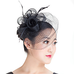 cheap Party Headpieces-Imitation Pearl Feather Polyester Fascinators 1 Wedding Special Occasion Casual Outdoor Headpiece