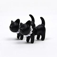 עגילים צמודים פנינה דמוי פנינה שרף Animal Shape חתול שחור מט שחור תכשיטים ל 2pcs