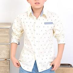 baratos Roupas de Meninos-Para Meninos Camisa Todas as Estações Algodão Manga Longa Bege Azul Marinho
