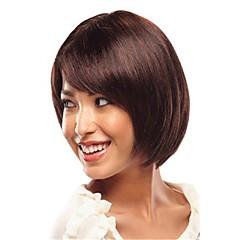 billiga Peruker och hårförlängning-Syntetiska peruker Rak / Kinky Rakt Med lugg Syntetiskt hår Med Bangs Brun Peruk Dam Korta Utan lock