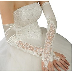 cheap Party Gloves-Polyester Satin Opera Length Glove Classical Bridal Gloves With Solid
