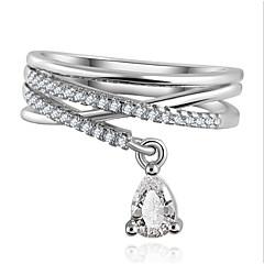 Maxi anel Zircão Zircônia Cubica Liga Caído Moda Jóias de Luxo Prata Dourado Jóias Festa Diário Casual 1peça