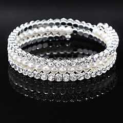 Fine Jewelry Silver Crystal Pearl Elastic Bangle Bracelet for Party