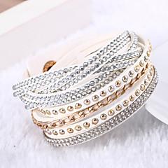Dames Wikkelarmbanden Uniek ontwerp Modieus Meerlaags Luxe Sieraden Kostuum juwelen Leder Strass Gesimuleerde diamant Sieraden Sieraden