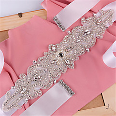 Satin Wedding Party/ Evening Dailywear Sash With Rhinestone Beading Pearls Sequins