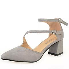 billige Damesko Sale-Sort / Grå - Tyk hæl - Kvinders Sko - Komfort / Spids tå / Modestøvler - Kunstlæder - Udendørs / Formelt / Hverdag - Flade sko