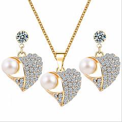 tanie Zestawy biżuterii-Damskie Perłowy Cyrkonia Imitacja diamentu Pokryte różowym złotem Serce Biżuteria Ustaw Náušnice Naszyjniki - Luksusowy Urocza Imprezowa
