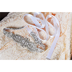 Satin Wedding Party/ Evening Dailywear Sash With Crystal Beading Appliques Pearls Sequins