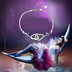 Dames Armbanden met ketting en sluiting Bedelarmbanden Modieus Kostuum juwelen Sterling zilver Strass Liefde Sieraden Voor Bruiloft Feest
