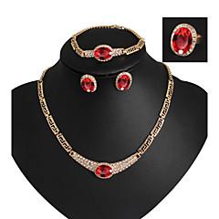 tanie Zestawy biżuterii-Damskie Złoto 18K Imitacja diamentu Biżuteria Ustaw Zawierać Bransoletka Náušnice Naszyjniki Pierścień - Luksusowy Urocza Imprezowa Modny