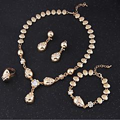 baratos Conjuntos de Bijuteria-Conjunto de jóias - Zircônia Cubica Vintage, Festa, Corrente Incluir Conjuntos de anéis Dourado Para / Brincos / Colares