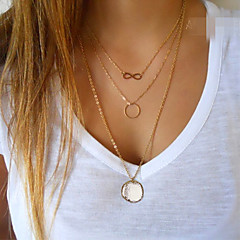 cheap Necklaces-Women's Infinity Pendant Necklace - Fashion Simple Style European Circle Infinity Golden Necklace For Party Daily Casual