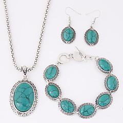 baratos Conjuntos de Bijuteria-Mulheres Turquesa Conjunto de jóias - Resina, Turquesa Luxo, Europeu Incluir Vermelho / Azul Para Festa Diário Casual / Brincos / Colares / Bracelete