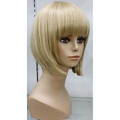 billige Lågløs-Human Hair Capless Parykker Lige Klassisk Høj kvalitet Massefylde Lågløs Kort Menneskehår