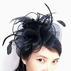 baratos -tulle feather net fascinators headpiece estilo feminino clássico