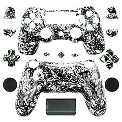 Replacement Controller Case for PS4 Controller (Black and White Ghost Head)