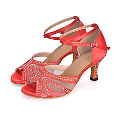 Women's Salsa Shoes Satin Sandal / Heel / Sneaker Performance Rhinestone / Buckle / Animal Print Flared Heel Customizable Dance Shoes Red