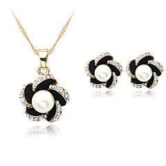 נשים סט תכשיטים שרשרת / עגילים חתונה Party יומי פנינה דמוי פנינה אבן נוצצת מצופה כסף סגסוגת עגילים שרשראות