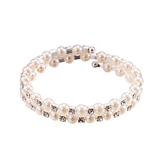 cheap Bracelets-Pearl Crystal No Clasp Elastic Bangle Bracelet Jewelry (One Size for All)