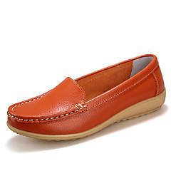 Mulheres Sapatos Couro Primavera Outono Conforto Sem Salto para Casual Branco Preto Laranja