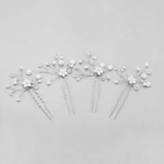 abordables Coiffes-Cristal Imitation de perle Alliage Coiffure Épingle à cheveux with Fleur 1pc Mariage Occasion spéciale Casque