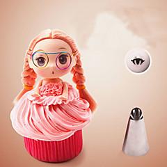billige Bakeredskap-sømløse glassrørmunnstykker tips rustfritt stål barbie jente skjørt bakverk krem kake cupcakes