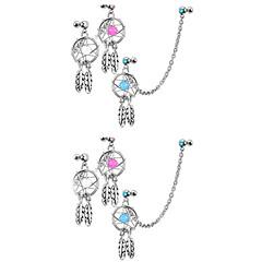 baratos Bijoux de Corps-Piercing de Orelha - Prata de Lei, Imitações de Diamante Luxo Mulheres Branco Bijuteria de Corpo Para Diário / Casual