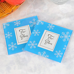 Snowflake Glass Photo Coasters (2pcs/box) Wedding Favors Beautiful