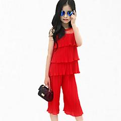 billige Tøjsæt til piger-Pige Pænt tøj Fest Patchwork Uden ærmer Normal Normal Polyester Tøjsæt Sort