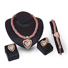 baratos Conjuntos de Bijuteria-Mulheres Conjunto de jóias - Strass Coração Personalizada, Fashion, Euramerican Incluir Dourado Para Festa Parabéns Noivado / Anéis