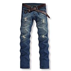 Herrn Baumwolle Gerade Chinos Jeans Hose Solide