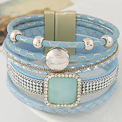 European Fashion Multilayer Gorgeous Imitation Gem Shiny Rhinestone Leather Magnetic Bracelet Christmas Gifts