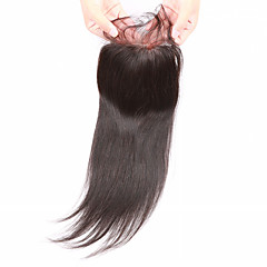cheap Wigs & Hair Pieces-Slove Hair 7A Bleached Knots Lace Closure Straight Closure Best Virgin Mongolian closures Free/2/3Part Closure