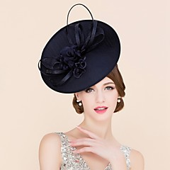 cheap Party Headpieces-Flax Fabric Silk Fascinators Hats Headwear with Floral 1pc Wedding Special Occasion Casual Headpiece