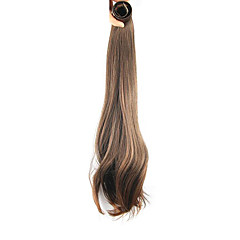 cheap Wigs & Hair Pieces-20 inch Honey Brown Clip In Straight Ponytails Elastic Wrap Around Synthetic Hair Piece Hair Extension
