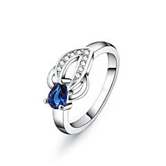 Yüzükler Moda Düğün / Parti / Günlük Mücevher Gümüş Kaplama Kadın İfadeli Yüzükler 1pc,7 / 8 Gümüş