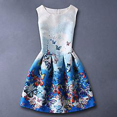 tanie Odzież dla dziewczynek-Dzieci Dla dziewczynek Kwiaty Wyjściowe / Weekend Motyl Nadruk Bez rękawów Bawełna Sukienka Niebieski