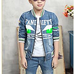 tanie Odzież dla chłopców-Dzieci Dla chłopców Kwiaty Codzienny Nadruk Długi rękaw Regularny Regularny Bawełna Jeansy / Komplet odzieży Pomarańczowy 140