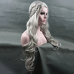 Χαμηλού Κόστους Προσφορά Χαλοουίν-Συνθετικές Περούκες / Περούκες Στολών Κυματιστό Κούρεμα νεράιδας Συνθετικά μαλλιά Περούκα κοτσιδάκια Λευκή Περούκα Γυναικεία Μακρύ Χωρίς κάλυμμα Ασημί