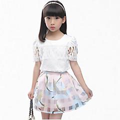 billige Tøjsæt til piger-Pige Blomster Fest Blomstret Kortærmet Normal Normal Polyester Tøjsæt Blå 140