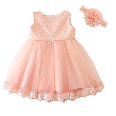 cheap Baby & Toddler Girl-Baby Girl's Party Solid Dress, Polyester Summer Dresswear Bow Short Sleeves Pink