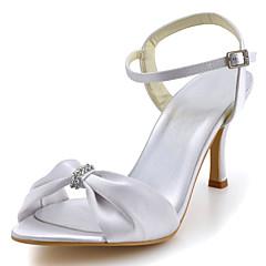 cheap Wedding Shoes-Women's Shoes Silk Summer Stiletto Heel Sparkling Glitter Hollow-out Ruffles for Wedding Party & Evening Dress Red Blue Pink Golden Almond
