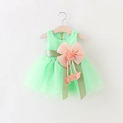 billige Babytøj-Baby Pige Rosette / Pænt tøj Fest Ensfarvet Uden ærmer Bomuld Kjole
