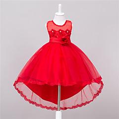 baratos Roupas de Meninas-Menina de Vestido Para Noite Sólido Verão Poliéster Sem Manga Floral Laço Branco Vermelho Rosa claro