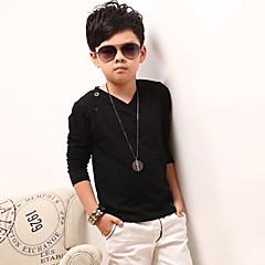 billige Gutteklær-Barn Gutt Ensfarget Langermet Bomull T-skjorte