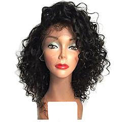 billiga Peruker och hårförlängning-Syntetiska snörning framifrån Afro Kinky Bob-frisyr Syntetiskt hår Värmetåligt / Naturlig hårlinje Natur Svart Peruk Dam Korta Naturlig