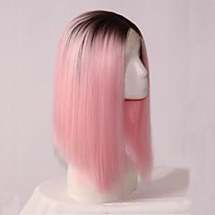 tanie Peruki syntetyczne-peruki syntetyczne włosy proste środkowa część bob fryzura koronki przodu cosplay peruka średniej długości różowy