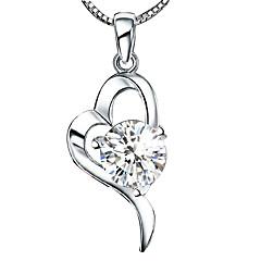 Naisten Riipus-kaulakorut Heart Shape Sterling-hopea Kristalli Love Heart Korut Käyttötarkoitus Häät Syntymäpäivä Päivittäin